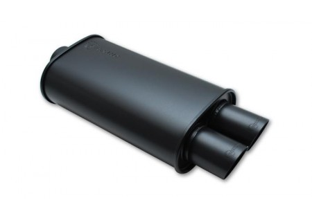Vibrant StreetPower Flat Black Oval Muffler Dual Tips 3.0in Inlet